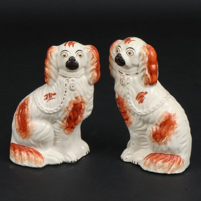Staffordshire Ceramic Rust Colored Spaniels, Late 19th/Early 20th Century