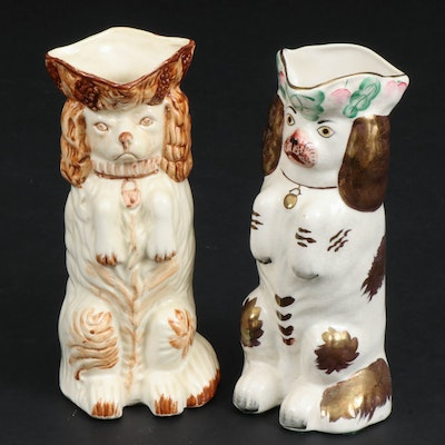 Staffordshire Copper Luster and Sepia Glazed Begging Spaniel Jugs