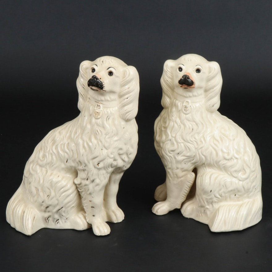 Pair of Staffordshire Ceramic Spaniel Figurines, Late 19th/Early 20th C.