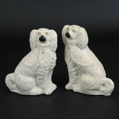 Staffordshire Ceramic Gilt Spaniels, Early to Mid 20th Century