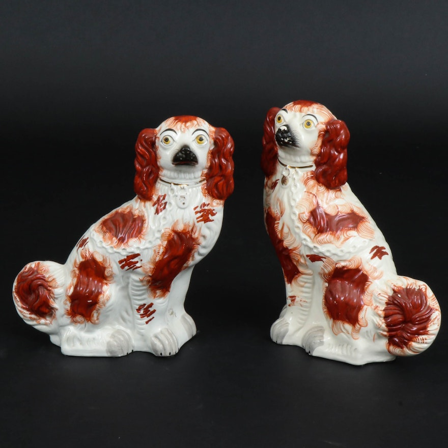 Staffordshire Ceramic Rust Colored Spaniels, Late 19th/ Early 20th Century