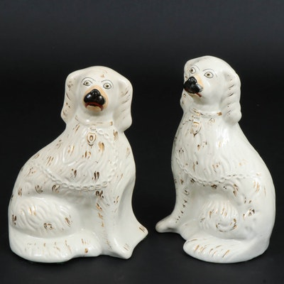 Staffordshire Ceramic Gilt Accented Spaniels, Early to Mid 20th Century