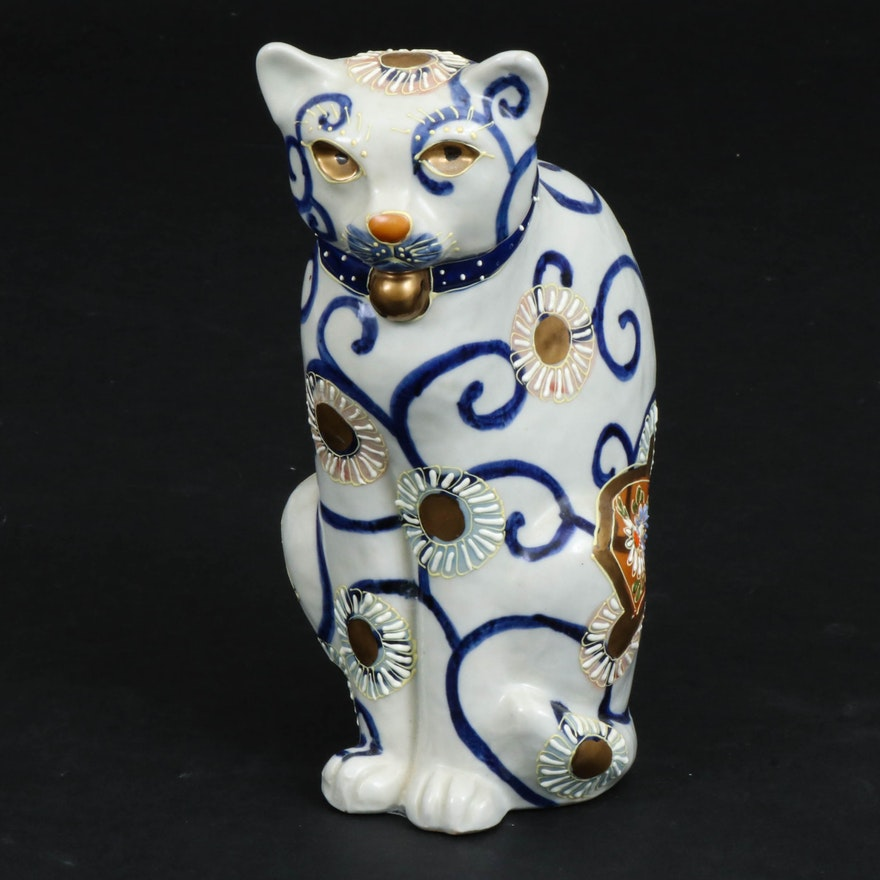Japanese Hand-Painted Moriage Porcelain Cat Figurine