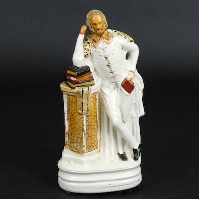 Staffordshire Ceramic Shakespeare Figurine, Mid to Late 19th Century