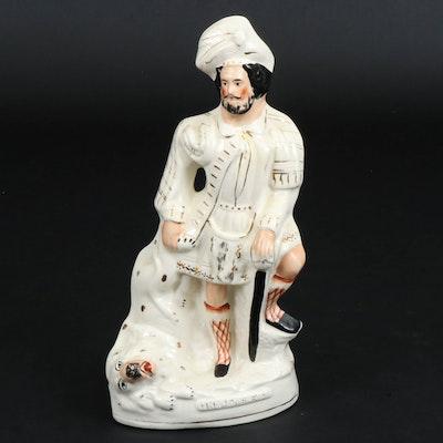 "Staffordshire Ceramic ""The Lion Slayer"" Flatback Figurine, Late 19th Century"