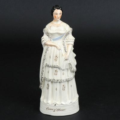 "Staffordshire Ceramic ""Queen of Prussia"" Figurine, Mid-19th Century"