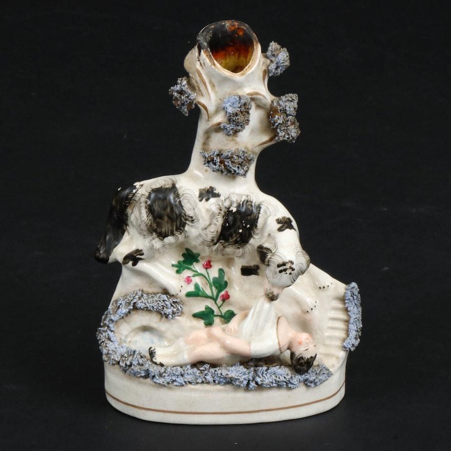 "Staffordshire Ceramic ""The Rescue Dog"" Spill Vase, Mid-19th Century"