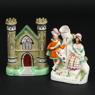 Staffordshire Castle Church with Shepherd and Shepherdess Spill Vases