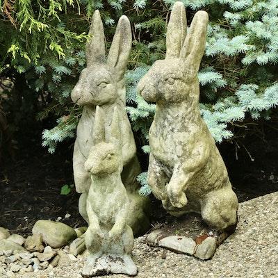 Three Cast Concrete Rabbit Garden Statues