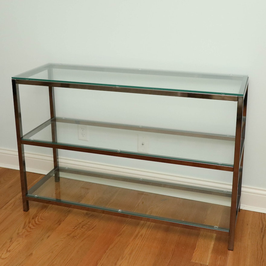 Modernist Style Chrome and Glass Three-Tier Console Table