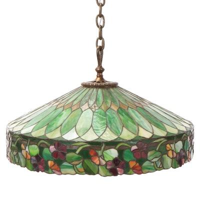 "Duffner & Kimberly Co. ""Nasturtium Border"" Colored Slag Glass Chandelier"