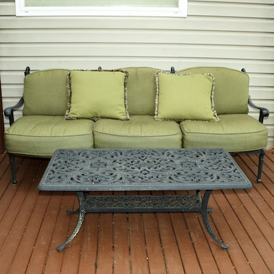 Outdoor Sofa and Coffee Table Including Cushions