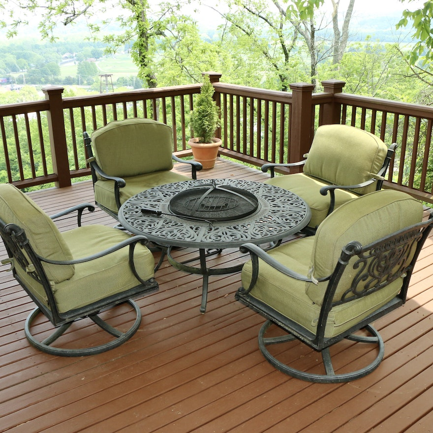 Outdoor Fire Pit Coffee Table and Chairs Including Cushions