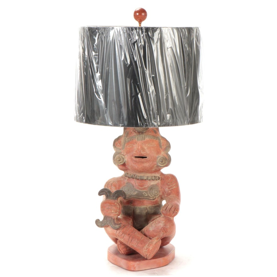 Mexican Red and Black Pottery Mayan Style Figurine Table Lamp