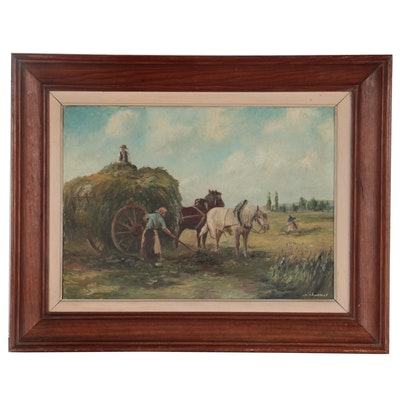 Realist Genre Scene Oil Painting of Hay Harvesting, Mid-20th Century