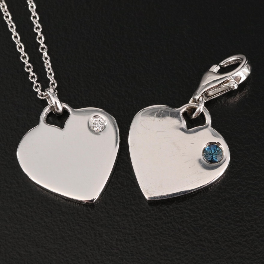 Sterling Silver Diamond and Sapphire Heart Pendant Necklace with Charm