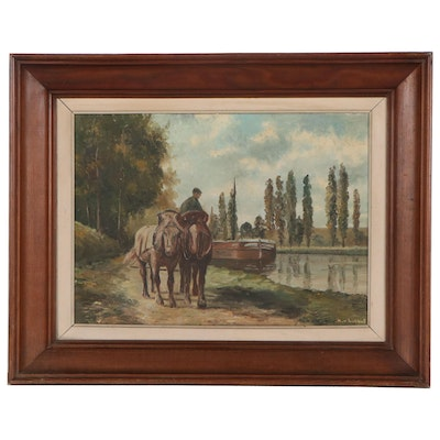 Genre Scene Oil Painting of Mules Pulling Barge, Mid-20th Century