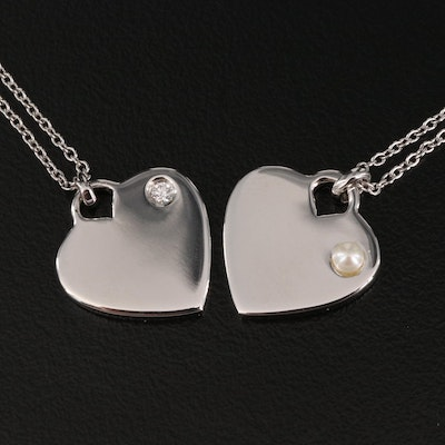 Sterling Silver Diamond and Pearl Heart Necklaces