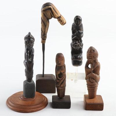 Indonesian Carved Bone and Wood Figural Kris Handles