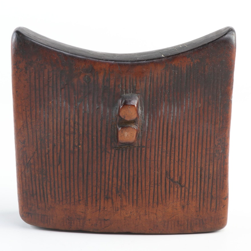 Ethiopian Hand-Carved Wooden Headrest, East Africa