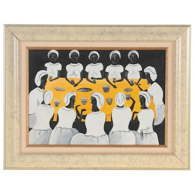 J. Goncalves Acrylic Painting of Women Seated Around a Table, 1989