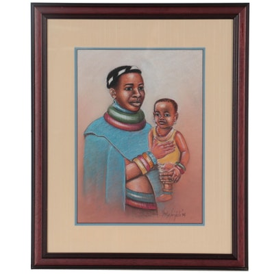 Mack Mojapelo Pastel Drawing of Mother and Child, 1994