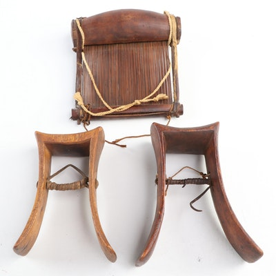 Karamojong Carved Wood Heddle Pulleys and Nigerian Loom Beater, East/West Africa