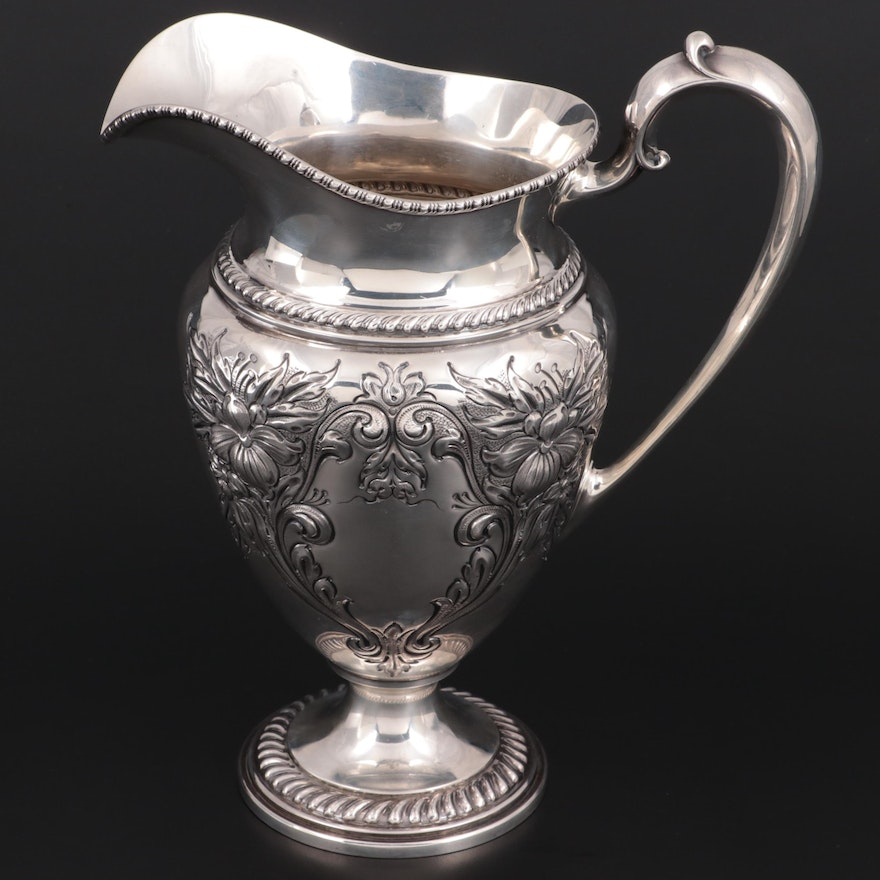 """Frank M. Whiting """"Lily-Floral"""" Chased Sterling Silver Water Pitcher"""