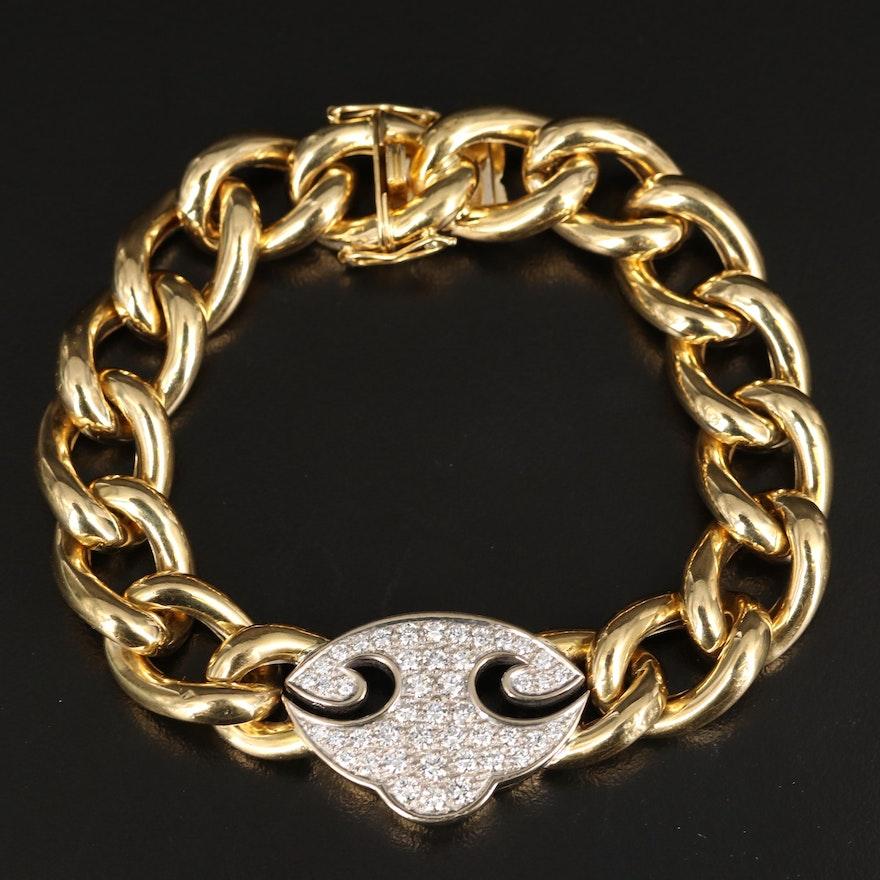 18K 2.54 CTW Diamond Curb Chain Bracelet with Scroll Detail