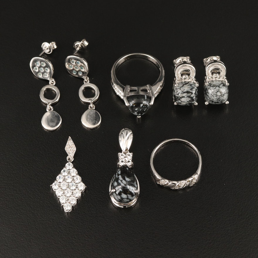 Sterling Jewelry Featuring Diamond and Snowflake Obsidian Accents