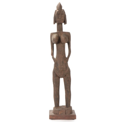 Bamana Style Hand-Carved Wood Female Figure, Mali
