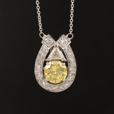 Platinum 1.42 CTW Diamond Necklace with GIA Report