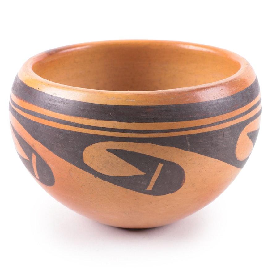 Frieda Poleahla Hopi Black-on-Yellow Earthenware Bowl