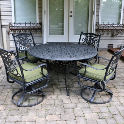 Outdoor Patio Aluminum Dining Set Including Cushions