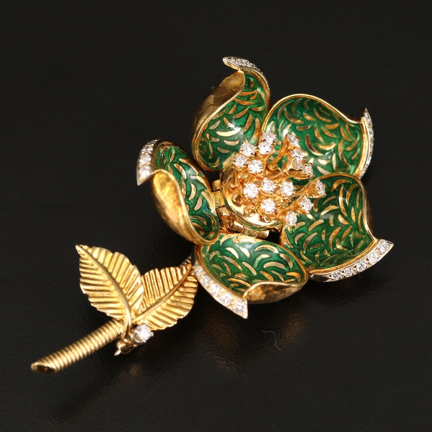 Hammerman Bros. 18K 1.07 CTW Diamond and Enamel Brooch with Articulated Petals