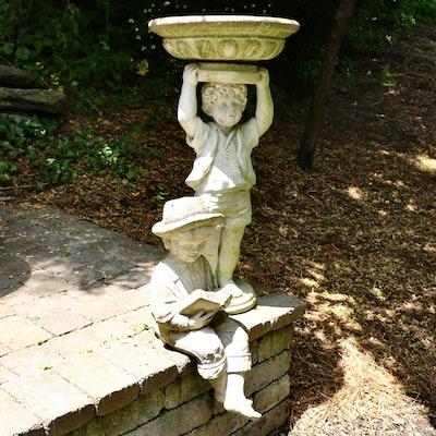 Cast Concrete Children Garden Statues, One as Bird Bath