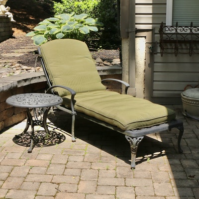 Outdoor Patio Chaise Lounge and Side Table