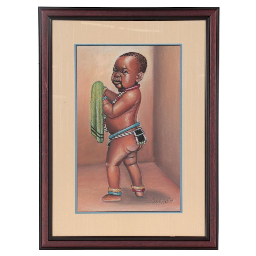Mack Mojapelo Pastel Drawing of African Child, 1994