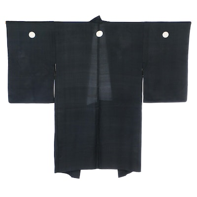 Black Silk Haori with Abstract Floral Lining