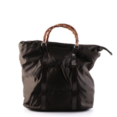 Gucci Bamboo Handled Tote Bag in Brown Nylon with Glazed Leather Trim