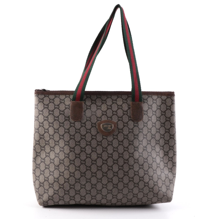 Gucci Plus Coated Canvas and Web Strap Zip Tote
