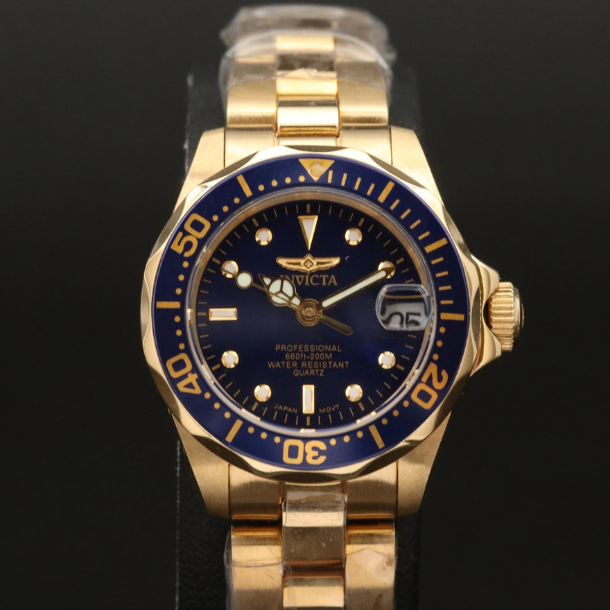 Invicta Pro Diver Gold Tone Quartz Wristwatch