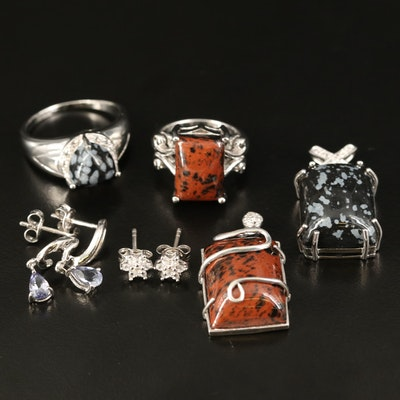 Sterling Snowflake and Mahogany Obsidian and Zircon Jewelry Selection