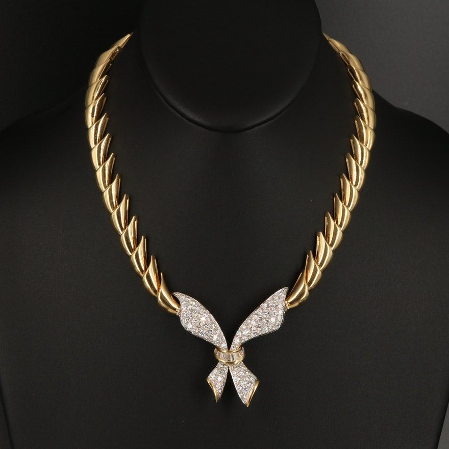 18K 6.44 CTW Diamond Converter Pendant Necklace