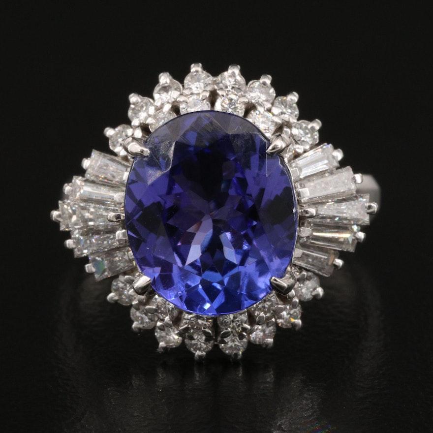 Platinum 4.93 CT Tanzanite and 1.17 CTW Diamond Ballerina Ring