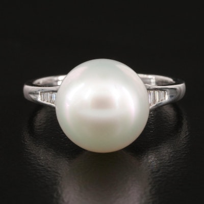 18K Pearl and Channel Set Diamond Ring