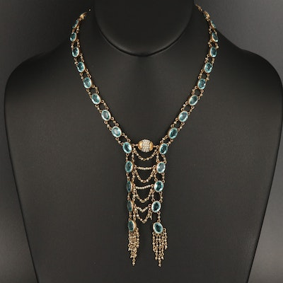 Antique 10K Crystal and Seed Pearl Necklace