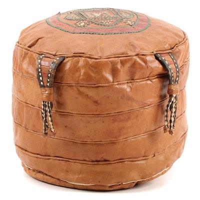 Tuareg Leather Embroidered Cushion, West Africa