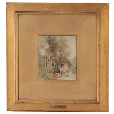 Birket Foster Watercolor Painting of Children at Spring