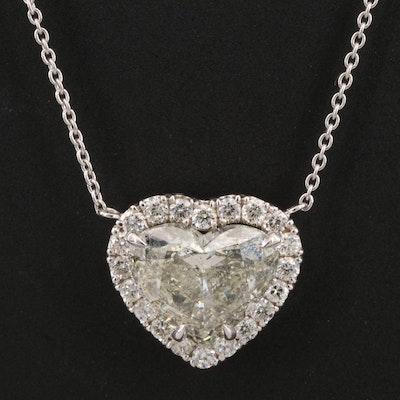 18K 2.47 CTW Diamond Heart Pendant Necklace